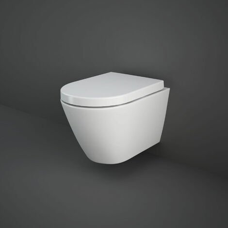 RAK Resort Rimless Wall Hung Toilet Hidden Fixations 520mm Projection - Soft Close Seat