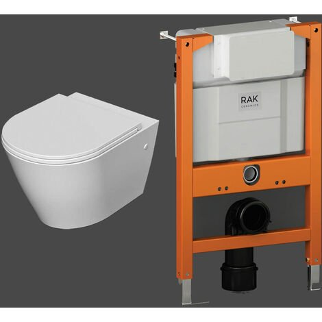RAK Resort Rimless Wall Hung Toilet with Ecofix 820mm Toilet Frame - Slim Sandwich Soft Close Seat