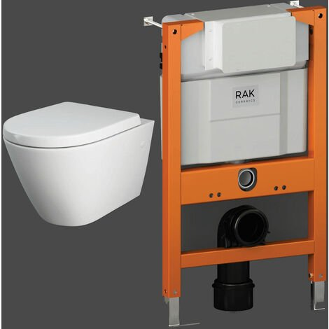 RAK Resort Rimless Wall Hung Toilet with Ecofix 820mm Toilet Frame - Soft Close Seat