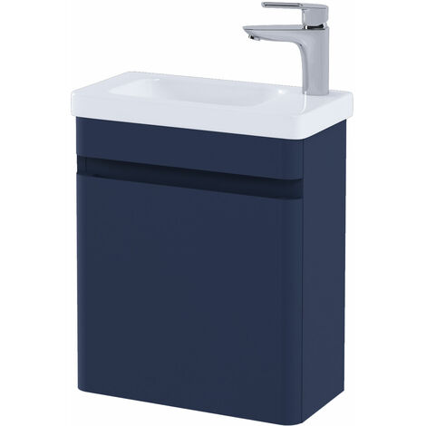 RAK Resort Wall Hung Cloakroom Vanity Unit with RH Basin 450mm Wide - Matt Denim Blue