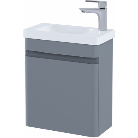 RAK Resort Wall Hung Cloakroom Vanity Unit with RH Basin 450mm Wide - Matt Grey
