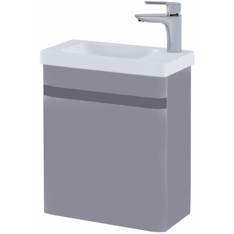 RAK Resort Wall Hung Cloakroom Vanity Unit with RH Basin 450mm Wide - Matt Mushroom