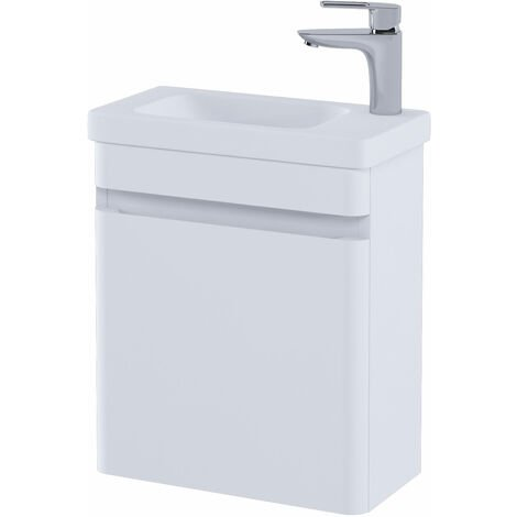 RAK Resort Wall Hung Cloakroom Vanity Unit with RH Basin 450mm Wide - Matt White