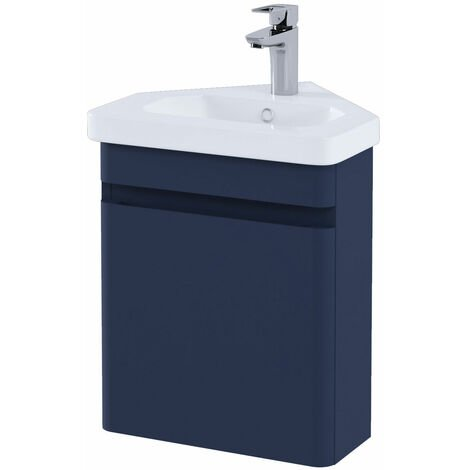 RAK Resort Wall Hung Corner Vanity Unit with Basin 450mm Wide - Matt Denim Blue