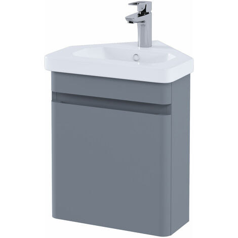 RAK Resort Wall Hung Corner Vanity Unit with Basin 450mm Wide - Matt Grey