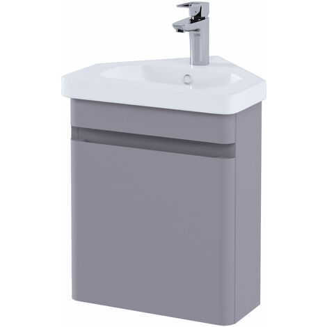 RAK Resort Wall Hung Corner Vanity Unit with Basin 450mm Wide - Matt Mushroom