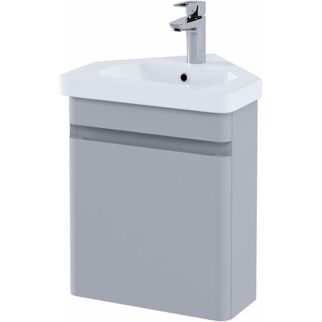RAK Resort Wall Hung Corner Vanity Unit with Basin 450mm Wide - Matt Stone