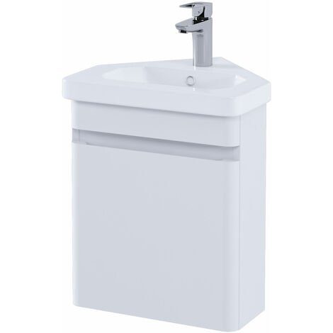RAK Resort Wall Hung Corner Vanity Unit with Basin 450mm Wide - Matt White