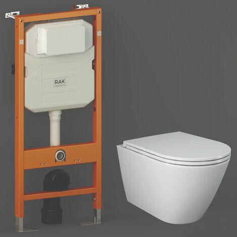 RAK Resort Wall Hung Rimless Pan with Duofix 820mm Toilet Frame - Slim Sandwich Soft Close Seat