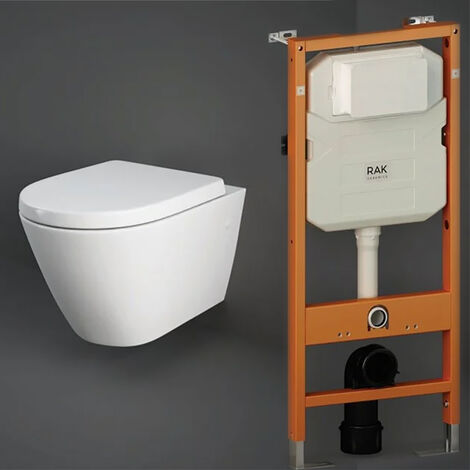 RAK Resort Wall Hung Rimless Pan with Duofix 820mm Toilet Frame - Soft Close Seat
