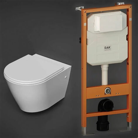 RAK Resort Wall Hung Rimless Pan with Ecofix 1140mm Toilet Frame - Slim Sandwich Soft Close Seat
