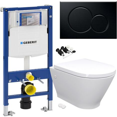 "main image of ""RAK Resort Wall Hung Toilet Rimless Pan & Seat, GEBERIT Sigma 0.98 Concealed Cistern WC Frame - Gloss Black Flush Plate"""