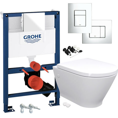"""main image of """"RAK Resort Wall Hung Toilet Rimless Pan & Seat, GROHE RAPID 0.82m SL 3 in 1 WC FRAME - Includes Shiny Chrome Flush Plate"""""""