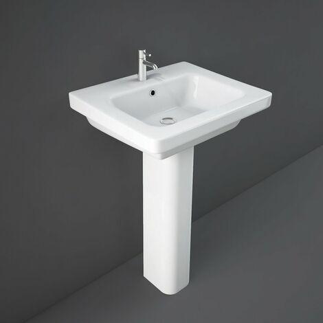 RAK Resort Wash Basin & Full Pedestal 550mm Wide 1 Tap Hole