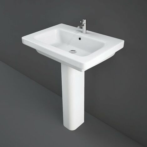 RAK Resort Wash Basin & Full Pedestal 650mm Wide 1 Tap Hole