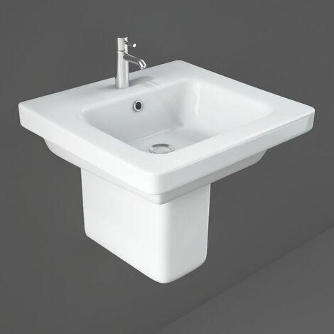 RAK Resort Wash Basin & Semi Pedestal 550mm Wide 1 Tap Hole