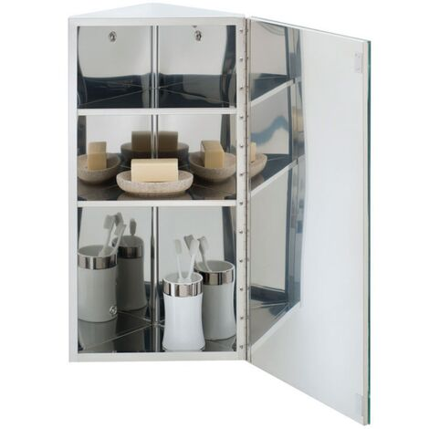 RAK Riva Single Corner Cabinet with Mirrored Door 650mm H x 380mm W