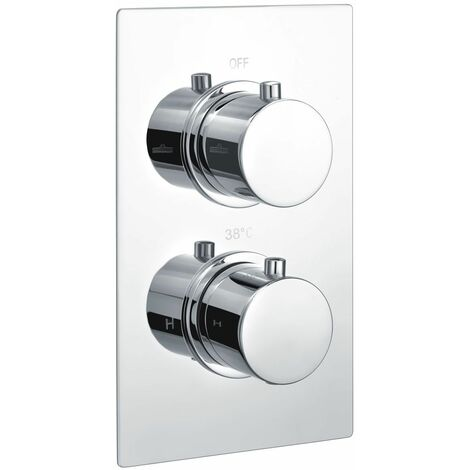 RAK Round Concealed 2 Handle Thermostatic Dual Control Shower Valve - RAKSHW3202R