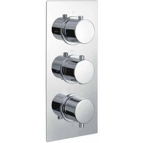 RAK Round Concealed 3 Handle Thermostatic Triple Control Shower Valve - RAKSHW3204R