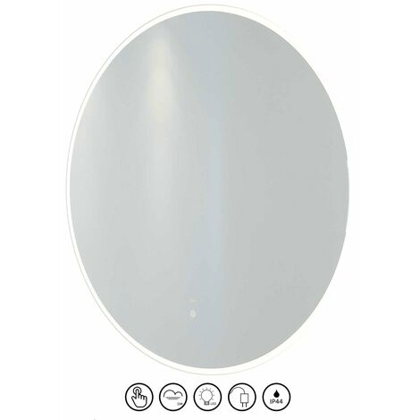 RAK Scorpio LED Round Mirror with Switch and Demister Pad 800mm H x 800mm W Illuminated