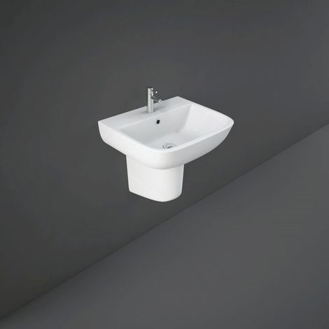 RAK Series 600 520mm Basin with 1 Tap Hole and Half Pedestal