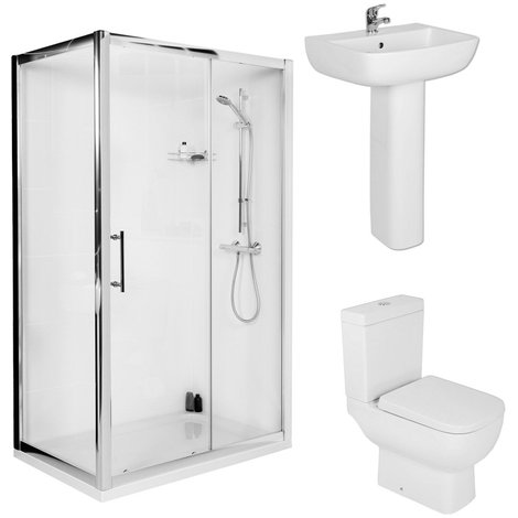 RAK Series 600 Short Projection 1000mm Sliding Door Shower Enclosure Suite with Easy Clean Glass