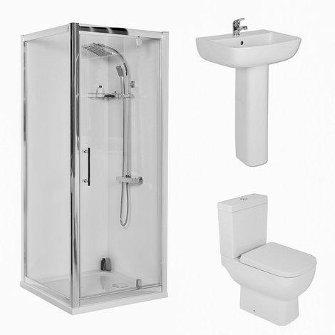 RAK Series 600 Short Projection 800mm Pivot Door Shower Enclosure Suite with Easy Clean Glass