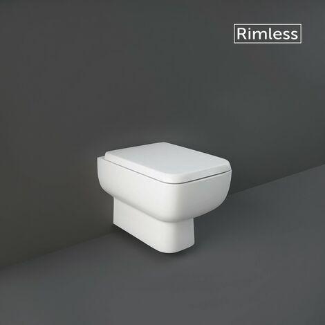 RAK Series 600 Wall Hung WC Pan with Hidden Fixations & Wrapover Soft Close Seat