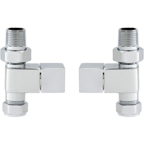 RAK Straight Square Radiator Valve Pair - RAKSSHVS1
