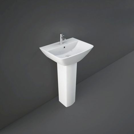 RAK Summit 500mm Wall Hung Basin with 1 Tap Hole and Full Pedestal