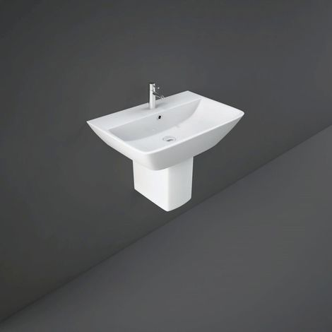 RAK Summit 500mm Wall Hung Basin with 1 Tap Hole and Semi Pedestal