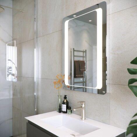 RAK Tanzanite LED Bathroom Mirror Demister Pad Anti-fog Touch Switch 800 x 600mm
