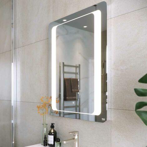 RAK Tanzanite LED Portrait Mirror with Switch and Demister Pad 800mm H x 600mm W Illuminated