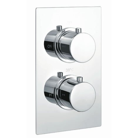 RAK Thermostatic Round 1 Outlet Concealed Shower Valve Dual Handle - Chrome