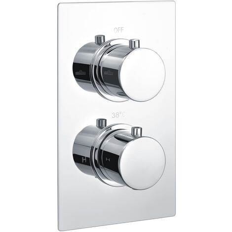 """main image of """"RAK Thermostatic Round 2 Outlet Concealed Shower Valve Dual Handle - Chrome"""""""