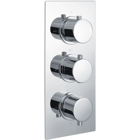 RAK Thermostatic Round 3 Outlet Concealed Shower Valve Triple Handle - Chrome