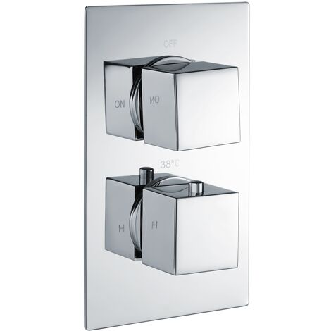 RAK Thermostatic Square 1 Outlet Concealed Shower Valve Dual Handle - Chrome