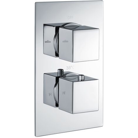 RAK Thermostatic Square 2 Outlet Concealed Shower Valve Dual Handle - Chrome