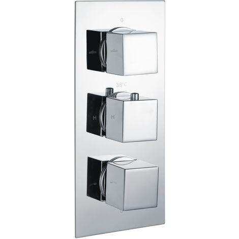 RAK Thermostatic Square 2 Outlet Concealed Shower Valve Triple Handle - Chrome