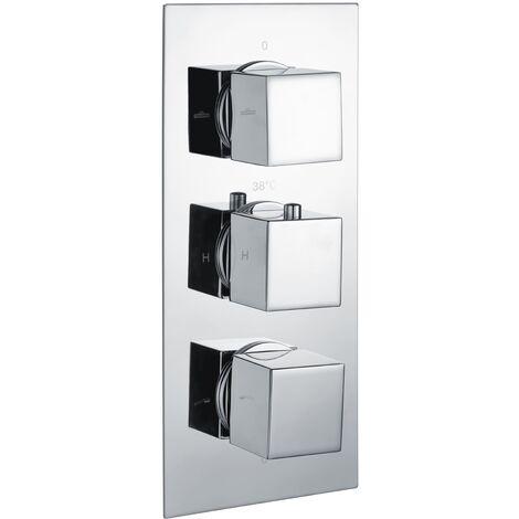 RAK Thermostatic Square 3 Outlet Concealed Shower Valve Triple Handle - Chrome