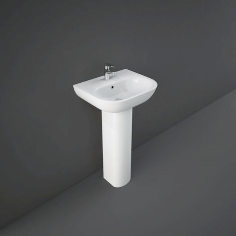 RAK Tonique 450mm Wall Hung Basin with 1 Tap Hole and Small Pedestal