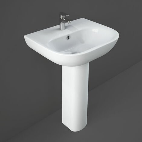 RAK Tonique Basin & Full Pedestal 550mm Wide 1 Tap Hole