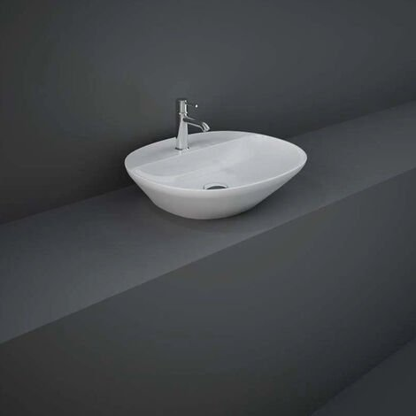 RAK Variant Oval Countertop Wash Basin 500mm Wide 1 Tap Hole - Alpine White