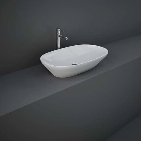 RAK Variant Oval Countertop Wash Basin 600mm Wide 0 Tap Hole - Alpine White