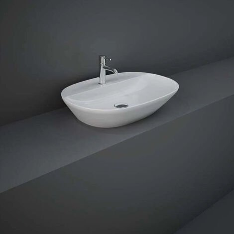 RAK Variant Oval Countertop Wash Basin 600mm Wide 1 Tap Hole - Alpine White