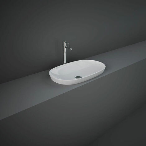RAK Variant Oval Drop-In Wash Basin 600mm Wide 0 Tap Hole - Alpine White