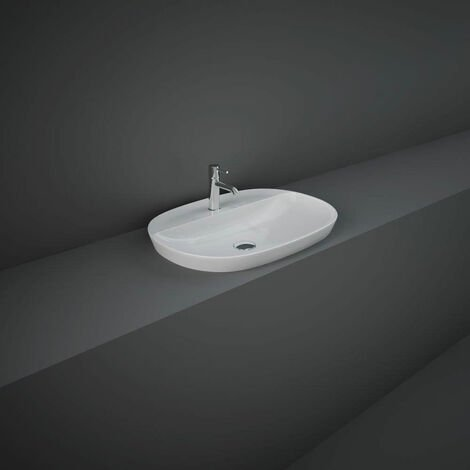 RAK Variant Oval Drop-In Wash Basin 600mm Wide 1 Tap Hole - Alpine White