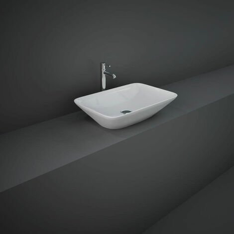 RAK Variant Rectangular Countertop Wash Basin 550mm Wide 0 Tap Hole - Alpine White