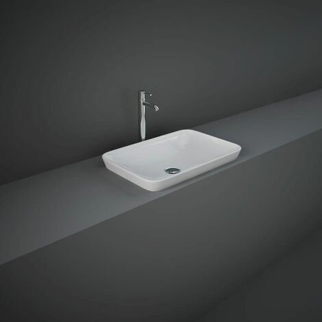 RAK Variant Rectangular Drop-In Wash Basin 550mm Wide 0 Tap Hole - Alpine White