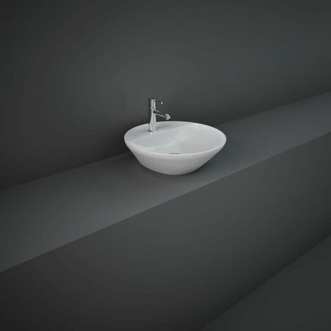 RAK Variant Round Countertop Wash Basin 420 Wide 1 Tap Hole - Alpine White